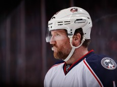 GLENDALE, AZ - DECEMBER 17:  Scott Hartnell #43 of the Columbus Blue Jackets skates up to a face off during the third period of the NHL game against the Arizona Coyotes at Gila River Arena on December 17, 2015 in Glendale, Arizona.  The Blue Jackets defeated the Coyotes 7-5.  (Photo by Christian Petersen/Getty Images)