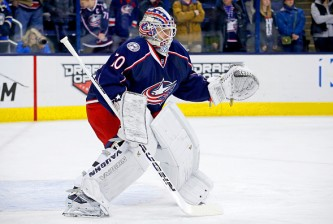 COLUMBUS, OH - JANUARY 5:  Joonas Korpisalo #70 of the Columbus Blue Jackets warms up prior to the start of the game against the Minnesota Wild on January 5, 2016 at Nationwide Arena in Columbus, Ohio. (Photo by Kirk Irwin/Getty Images)