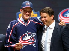 SUNRISE, FL - JUNE 26:  Gabriel Carlsson poses after being selected 29th overall by the Columbus Blue Jackets in the first round of the 2015 NHL Draft at BB&T Center on June 26, 2015 in Sunrise, Florida.  (Photo by Bruce Bennett/Getty Images)