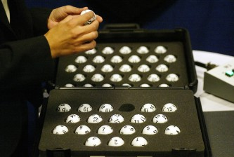 NEW YORK - JULY 22:  The National Hockey League draft balls are checked prior to the lottery at the Sheraton New York Hotel and Towers on July 22, 2005 in New York City.  (Photo by Andy Marlin/Getty Images for NHLI)