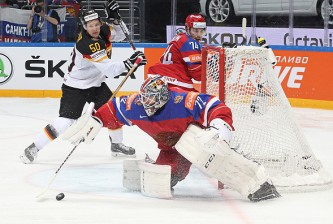 MOSCOW, RUSSIA - MAY 19: Sergei Bobrovski #72 of Russia makes a save against Germany at Ice Palace on May 19, 2016 in Moscow, Russia. (Photo by Anna Sergeeva/Getty Images)