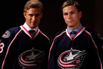 NEWARK, NJ - JUNE 30:  (L-R) Alexander Wennberg 14th and Kerby Rychel 19th poses for a portrait after being selected overall in the first round by the Columbus Blue Jackets during the 2013 NHL Draft at the Prudential Center on June 30, 2013 in Newark, New Jersey.  (Photo by Jamie Squire/Getty Images)