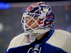 COLUMBUS, OH - FEBRUARY 13:  Anton Forsberg #31 of the Columbus Blue Jackets warms up prior to the start of the game against the Ottawa Senators on February 13, 2016 at Nationwide Arena in Columbus, Ohio. (Photo by Kirk Irwin/Getty Images)