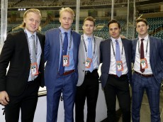 SAN JOSE, CA - JUNE 06:  (L-R) Top Prospects Alexander Nylander, Patrik Laine, Matthew Tkachuk, Auston Matthews and Pierre-Luc Dubois pose prior media availability for the 2016 NHL Draft Top Prospects ahead of Game Four of the 2016 NHL Stanley Cup Final at SAP Center on June 6, 2016 in San Jose, California.  (Photo by Bruce Bennett/Getty Images)