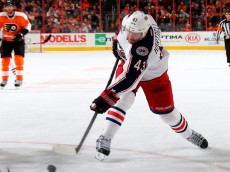 PHILADELPHIA, PA - NOVEMBER 14: Scott Hartnell #43 of the Columbus Blue Jackets takes a shot in the first period against the Philadelphia Flyers on November 14, 2014 at the Wells Fargo Center in Philadelphia, Pennsylvania. (Photo by Elsa/Getty Images)