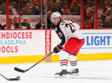 PHILADELPHIA, PA - MARCH 05:  William Karlsson #25 of the Columbus Blue Jackets in action against the Philadelphia Flyers during their game at the Wells Fargo Center on March 5, 2016 in Philadelphia, Pennsylvania.  (Photo by Al Bello/Getty Images)