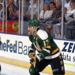 INGLEWOOD, CA - 1990:  Basil McRae #17 of the Minnesota North Stars skates during a game against the Los Angeles Kings in the 1990-1991 NHL season at the Great Western Forum in Inglewood, California.  (Photo by Rick Stewart/Getty Images)