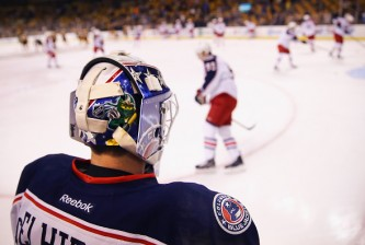 BOSTON, MA - JANUARY 17:  Curtis McElhinney #30 of the Columbus Blue Jackets looks on during warm ups before the game against the Boston Bruins at TD Garden on January 17, 2015 in Boston, Massachusetts.  (Photo by Maddie Meyer/Getty Images)