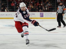 NEWARK, NJ - OCTOBER 27:  Cody Goloubef #29 of the Columbus Blue Jackets skates against the New Jersey Devils at the Prudential Center on October 27, 2015 in Newark, New Jersey.  (Photo by Bruce Bennett/Getty Images)