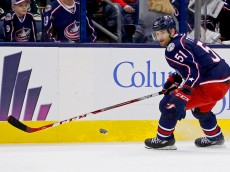 COLUMBUS, OH - JANUARY 5:  Fedor Tyutin #51 of the Columbus Blue Jackets skates after the puck during the game against the Minnesota Wild on January 5, 2016 at Nationwide Arena in Columbus, Ohio. (Photo by Kirk Irwin/Getty Images)