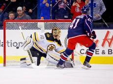 COLUMBUS, OH - FEBRUARY 16:  Alexander Wennberg #41 of the Columbus Blue Jackets beats Tuukka Rask #40 of the Boston Bruins on a penalty shot during the first period on February 16, 2016 at Nationwide Arena in Columbus, Ohio. (Photo by Kirk Irwin/Getty Images)