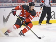 TORONTO, ON - JANUARY 5:  Dillon Heatherington #3 of Team Canada turns with the puck against Team Russia during the Gold medal game in the 2015 IIHF World Junior Hockey Championships at the Air Canada Centre on January 5, 2015 in Toronto, Ontario, Canada. Team Canada defeated Team Russia 5-4 to win the gold medal. (Photo by Claus Andersen/Getty Images)