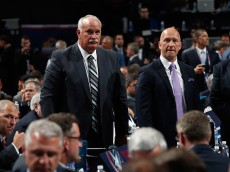 SUNRISE, FL - JUNE 26:  (l-r) John Davidson and Jarmo Kekäläinen of the Columbus Blue Jackets attend the 2015 NHL Draft at BB&T Center on June 26, 2015 in Sunrise, Florida.  (Photo by Bruce Bennett/Getty Images)