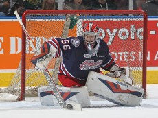 LONDON, ON - NOVEMBER 19:  Jeremy Brodeur #56 of the Oshawa Generals makes a save against the London Knights during an OHL game at Budweiser Gardens on November 19, 2015 in London, Ontario, Canada. The Knights defeated the Generals 5-2. (Photo by Claus Andersen/Getty Images)