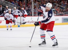 GLENDALE, AZ - DECEMBER 17:  Scott Hartnell #43 of the Columbus Blue Jackets passes the puck during the NHL game against the Arizona Coyotes at Gila River Arena on December 17, 2015 in Glendale, Arizona.  The Blue Jackets defeated the Coyotes 7-5.  (Photo by Christian Petersen/Getty Images)