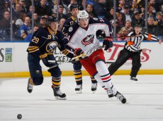 BUFFALO, NEW YORK - APRIL 08: Jake McCabe #29 and David Legwand #17 of the Buffalo Sabres skate against Josh Anderson #34 of the Columbus Blue Jackets at First Niagara Center on April 8, 2016 in Buffalo, New York. Columbus defeated Buffalo 4-1.  (Photo by Jen Fuller/Getty Images)