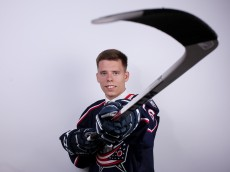 BUFFALO, NY - JUNE 25:  Vitaly Abramov poses for a portrait after being selected 65th overall by the Columbus Blue Jackets during the 2016 NHL Draft on June 25, 2016 in Buffalo, New York.  (Photo by Jeffrey T. Barnes/Getty Images)