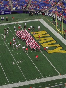 Buckeyes doing quick cals before the Navy game