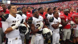 Buckeyes and Midshipmen singing the Navy alma mater