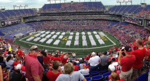 Navy cadets on the field during pre game