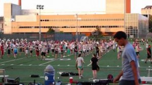 Students work on marching at a Summer Session.