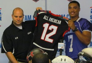 Jalin Marshall receives his All-American jersey from your's truly, a former American Family Insurance agent.