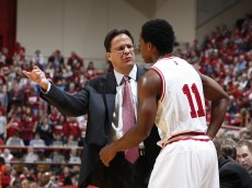 BLOOMINGTON, IN - NOVEMBER 15: Indiana Hoosiers head coach Tom Crean talks with Yogi Ferrell #11 during the game against the Sam Houston State Bearkats at Assembly Hall on November 15, 2012 in Bloomington, Indiana. The Hoosiers won 99-45. (Photo by Joe Robbins/Getty Images)