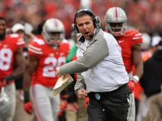 COLUMBUS, OH - NOVEMBER 29:  Head Coach Urban Meyer of the Ohio State Buckeyes celebrates after the Buckeyes scored on fourth and one in the fourth quarter against the Michigan Wolverines at Ohio Stadium on November 29, 2014 in Columbus, Ohio. Ohio State defeated Michigan 42-28.  (Photo by Jamie Sabau/Getty Images)