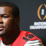 DALLAS, TX - JANUARY 10:  Cardale Jones #12 of the Ohio State Buckeyes talks with the media during Media Day for the College Football Playoff National Championship at Dallas Convention Center on January 10, 2015 in Dallas, Texas.  (Photo by Ronald Martinez/Getty Images)