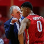 BLOOMINGTON, IN - JANUARY 10: Head coach Thad Matta of the Ohio State Buckeyes talks to D'Angelo Russell #0 of the Ohio State Buckeyes during the game against the Indiana Hoosiers at Assembly Hall on January 10, 2015 in Bloomington, Indiana. Indiana defeated Ohio State 69-66. (Photo by Michael Hickey/Getty Images)