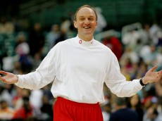 ATLANTA - MARCH 30:  Head coach Thad Matta of the Ohio State Buckeyes watches warmups during practice for the NCAA Men's Final Four at the Georgia Dome on March 30, 2007 in Atlanta, Georgia.  (Photo by Andy Lyons/Getty Images)