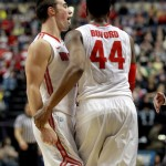 INDIANAPOLIS, IN - MARCH 09:  Aaron Craft #4 of the Ohio State Buckeyes celebrates with William Buford #44 during the game against the  Purdue Boilermakers during the quarterfinals of the Big Ten Basketball Tournament at Bankers Life Fieldhouse on March 9, 2012 in Indianapolis, Indiana.  (Photo by Andy Lyons/Getty Images)