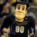 OMAHA, NE - MARCH 18:  Purdue Pete, the mascot of the Purdue Boilermakers performs against the Kansas Jayhawks during the third round of the 2012 NCAA Men's Basketball Tournament at CenturyLink Center on March 18, 2012 in Omaha, Nebraska.  (Photo by Doug Pensinger/Getty Images)
