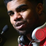 DALLAS, TX - JANUARY 10:  Ezekiel Elliott #15 of the Ohio State Buckeyes talks with media during Media Day for the College Football Playoff National Championship at Dallas Convention Center on January 10, 2015 in Dallas, Texas.  (Photo by Ronald Martinez/Getty Images)