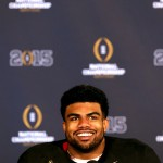 ARLINGTON, TX - JANUARY 12: Running back Ezekiel Elliott #15 of the Ohio State Buckeyes talks to the media after defeating the Oregon Ducks in the College Football Playoff National Championship Game at AT&T Stadium on January 12, 2015 in Arlington, Texas.  The Ohio State Buckeyes defeated the Oregon Ducks 42 to 20.  (Photo by Sarah Glenn/Getty Images)