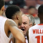 COLUMBUS, OH - JANUARY 13:  Head Coach Thad Matta of the Ohio State Buckeyes gives his players instructions before the start of the second half against the Michigan Wolverines on January 13, 2015 at Value City Arena in Columbus, Ohio. Ohio State defeated Michigan 71-52.  (Photo by Jamie Sabau/Getty Images)
