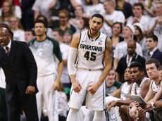 EAST LANSING, MI - JANUARY 21:  Denzel Valentine #45 of the Michigan State Spartans celebrates during the game against the Penn State Nittany Lions at the Breslin Center on January 21, 2015 in East Lansing, Michigan. (Photo by Rey Del Rio/Getty Images)