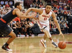 COLUMBUS, OH - JANUARY 29:  DAngelo Russell #0 of the Ohio State Buckeyes controls the ball against the Maryland Terrapins on January 29, 2015 at Value City Arena in Columbus, Ohio.  (Photo by Jamie Sabau/Getty Images)