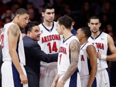 TUCSON, AZ - FEBRUARY 19:  Head coach Sean Miller of the Arizona Wildcats talks to his team during a break from the college basketball game against the USC Trojans at McKale Center on February 19, 2015 in Tucson, Arizona.  (Photo by Christian Petersen/Getty Images)