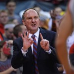 COLUMBUS, OH - FEBRUARY 11:  Head coach Thad Matta of the Ohio State Buckeyes shouts instructions to his team in the first half against the Michigan Wolverines on February 11, 2014 at Value City Arena in Columbus, Ohio.  (Photo by Jamie Sabau/Getty Images)