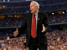 ARLINGTON, TX - APRIL 05:  Head coach Bo Ryan of the Wisconsin Badgers motions to his players during the NCAA Men's Final Four Semifinal against the Kentucky Wildcats at AT&T Stadium on April 5, 2014 in Arlington, Texas.  (Photo by Tom Pennington/Getty Images)