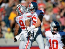BERKELEY, CA - SEPTEMBER 14:  Devin Smith #9 and Jeff Heuerman #86 of the Ohio State Buckeyes celebrate after Smith scored on a 47-yard pass play during the first quarter against the California Golden Bears at California Memorial Stadium on September 14, 2013 in Berkeley, California.  (Photo by Thearon W. Henderson/Getty Images)