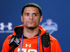 INDIANAPOLIS, IN - FEBRUARY 19: Wide receiver Devin Smith of Ohio State speaks to the media during the 2015 NFL Scouting Combine at Lucas Oil Stadium on February 19, 2015 in Indianapolis, Indiana. (Photo by Joe Robbins/Getty Images)