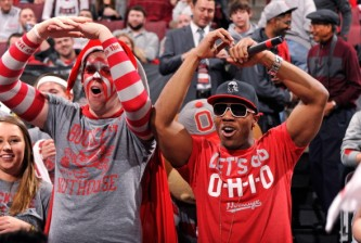 COLUMBUS, OH - FEBRUARY 10:  Rapper Mekka Don, right, performs for the crowd before the game between the Ohio State Buckeyes and the Indiana Hoosiers on February 10, 2013 at Value City Arena in Columbus, Ohio.  (Photo by Jamie Sabau/Getty Images)