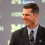 ANN ARBOR, MI - DECEMBER 30:  Jim Harbaugh speaks as he is introduced as the new Head Coach of the University of Michigan football team at the Junge Family Champions Center on December 30, 2014 in Ann Arbor, Michigan.  (Photo by Gregory Shamus/Getty Images)