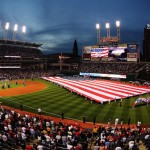 CLEVELAND - OCTOBER 15:  The American flag is seen on the field during the National Anthem prior to the start of Game Three of the American League Championship Series between the Cleveland Indians and the Boston Red Sox at Jacob's Field on October 15, 2007 in Cleveland, Ohio.  (Photo by Gregory Shamus/Getty Images)