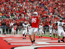 COLUMBUS, OH - OCTOBER 20:  Jeff Heuerman #86 of the Ohio State Buckeyes celebrates after catching a two point conversion against the Purdue Boilermakers to send the game into overtime on October 20, 2012 at Ohio Stadium in Columbus, Ohio. Ohio State defeated Purdue 29-22 in overtime. (Photo by Kirk Irwin/Getty Images)