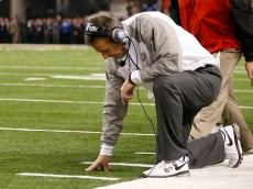 ARLINGTON, TX - JANUARY 12:  Head Coach Urban Meyer of the Ohio State Buckeyes reacts against the Oregon Ducks during the College Football Playoff National Championship Game at AT&T Stadium on January 12, 2015 in Arlington, Texas.  (Photo by Christian Petersen/Getty Images)