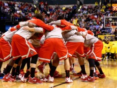 INDIANAPOLIS, IN - MARCH 15: The Ohio State Buckeyes huddle up before playing in the Big Ten Basketball Tournament Semifinal game against the Michigan Wolverines at Bankers Life Fieldhouse on March 15, 2014 in Indianapolis, Indiana.  (Photo by Andy Lyons/Getty Images)