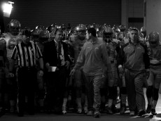 NEW ORLEANS, LA - JANUARY 01:  (EDITORS NOTE: Image has been converted to black and white)  Head coach Urban Meyer of the Ohio State Buckeyes looks on prior to the All State Sugar Bowl against the Alabama Crimson Tide at the Mercedes-Benz Superdome on January 1, 2015 in New Orleans, Louisiana.  (Photo by Streeter Lecka/Getty Images)